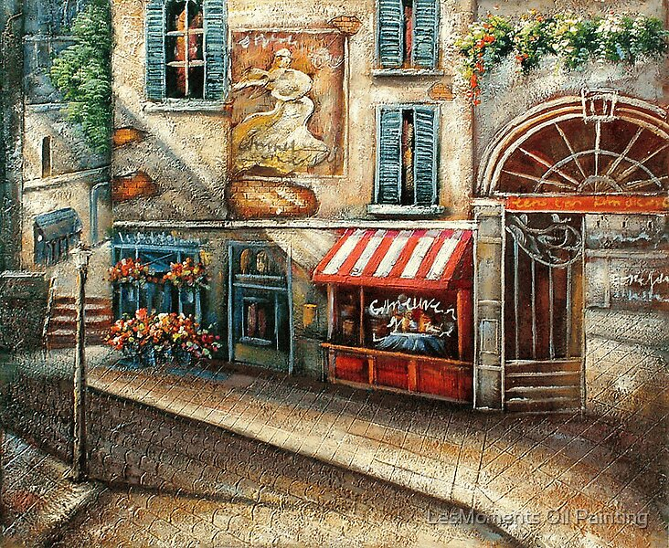 """""""Cobblestone Street with Shops Oil Painting"""" by LesMoments ..."""