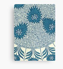 White And Blue Retro Floral Pattern - Vintage Asian Design Canvas Print