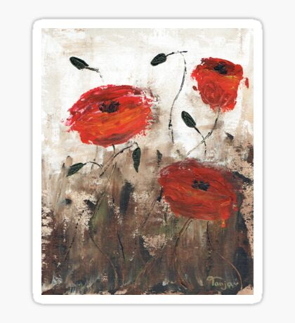 Poppies (brown background) Sticker