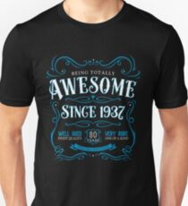 80th Birthday Gift Awesome Since 1937 Blue Unisex T-Shirt