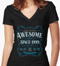 18th Birthday Gift Awesome Since 1999 Blue Women's Fitted V-Neck T-Shirt