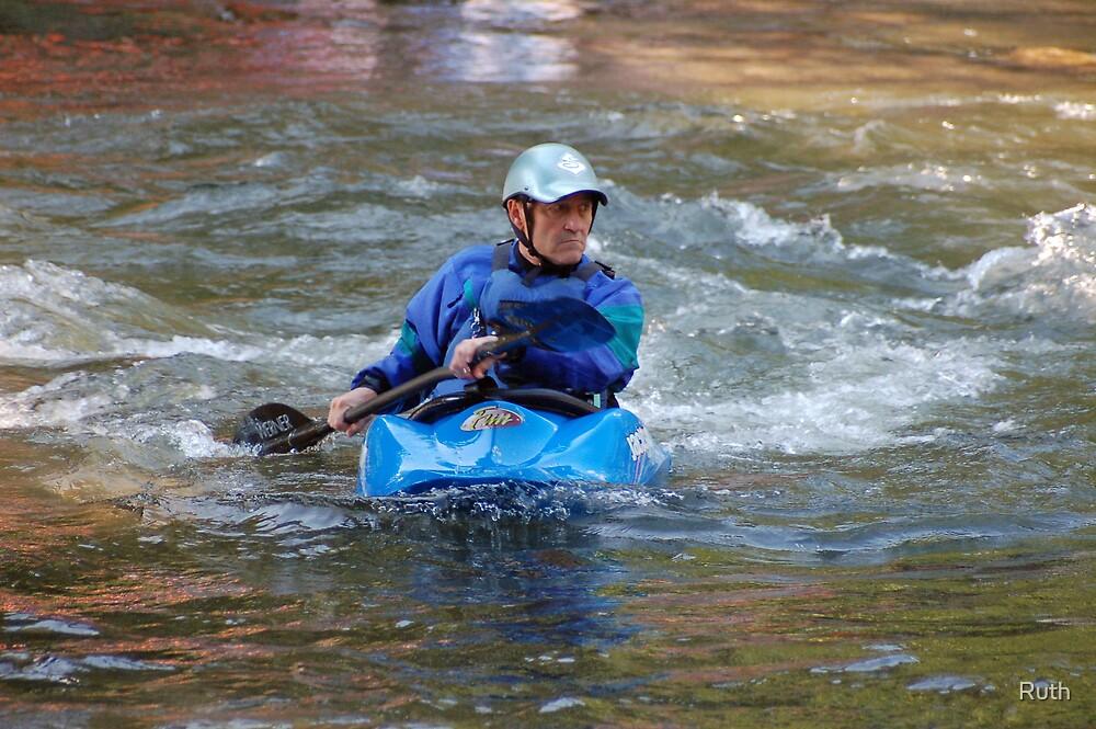 Man kayaking on Nantahala River by Ruth