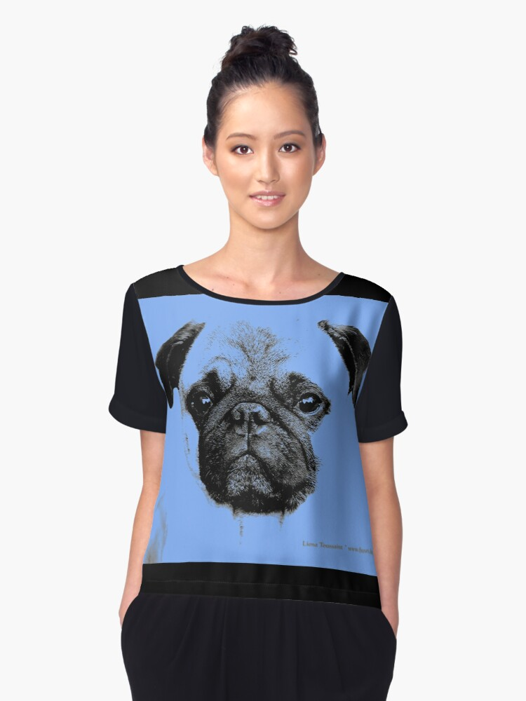 Pug puppy pup baby blue Women's Chiffon Top Front