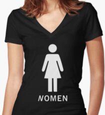 NOMEN Womens Restroom/Toilet Sign Funny Women's Fitted V-Neck T-Shirt