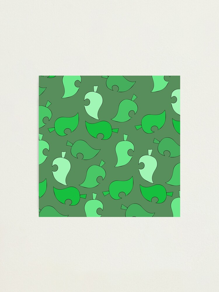 Animal Crossing Leaves Green Background Photographic Print By