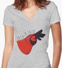 Fancy Fist Bump Women's Fitted V-Neck T-Shirt