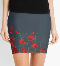 NIGHT SCENE FLOWERS POPPIES Mini Skirt