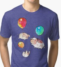 Watercolor Balloon Cow, Pig and Chicken  Tri-blend T-Shirt
