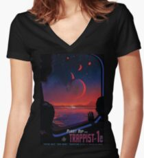 Trappist 1 -- Space Travel Poster Women's Fitted V-Neck T-Shirt