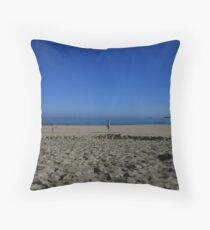 Blue sky beach Throw Pillow