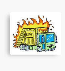 Garbage Truck on Fire Canvas Print