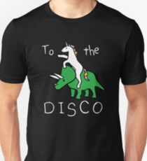 Camiseta unisex To The Disco (texto blanco) Unicorn Riding Triceratops