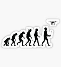 Evolution of Man - Drone Pilot Edition Black Sticker