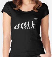Evolution of Man - Drone Pilot Edition White Women's Fitted Scoop T-Shirt