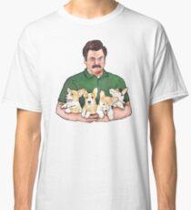 Ron Swanson Holding Corgi Puppies Classic T-Shirt