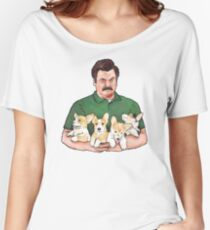 Ron Swanson Holding Corgi Puppies Women's Relaxed Fit T-Shirt