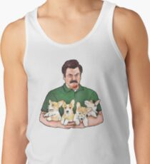 Camisetas de tirantes para hombre Ron Swanson Holding Corgi Puppies