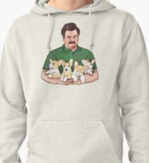 Ron Swanson Holding Corgi Puppies Pullover Hoodie