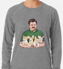 Ron Swanson Holding Corgi Welpen Leichtes Sweatshirt