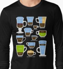 Espresso Coffee Drinks Guide Long Sleeve T-Shirt