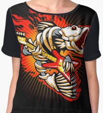Fish skeleton rock electric guitar flame Chiffon Top
