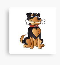 funny dog cartoon sitting. Adopt a dog Canvas Print