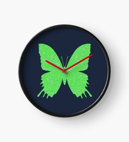 #DeepDream Lime Green color Butterfly Clock