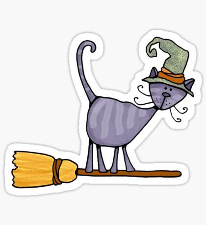Broomstick kitty Sticker