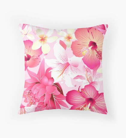 Tropical pink and white flowers Throw Pillow