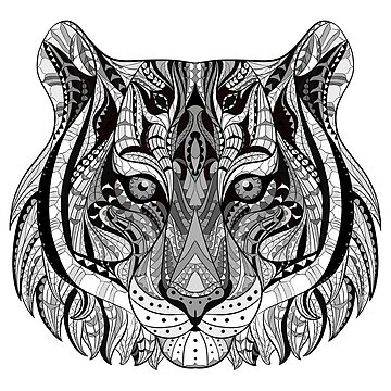 Ethnic Tribal Tiger Black and White by harshaldesai