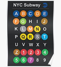 New York City subway alphabet map - dark version, NY, NYC, metro, tube Poster