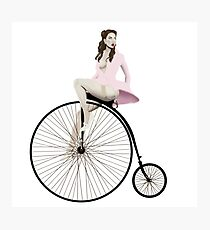 Pinup On Penny-Farthing (no background) Photographic Print