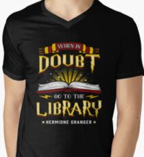 When in doubt go to the  Library Magic is there Men's V-Neck T-Shirt