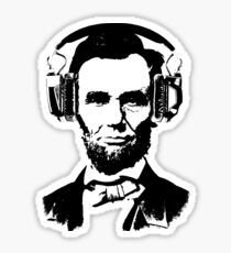 Abraham Lincoln with headphones Sticker