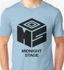 Midnight Stage - Black with text Unisex T-Shirt
