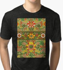 Detailed Colorful Abstract Floral Pattern Artwork In Green Red And Yellow Tri-blend T-Shirt