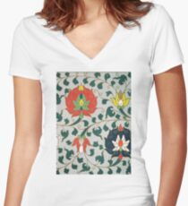 Red Green Yellow And White Vintage Asian Traditional Floral Pattern Artwork Women's Fitted V-Neck T-Shirt