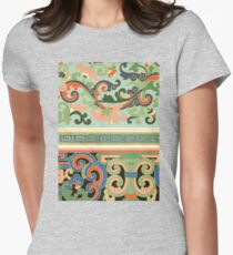 Colorful Pastel Tone Vintage Oriental Girly Floral Pattern Artwork Women's Fitted T-Shirt