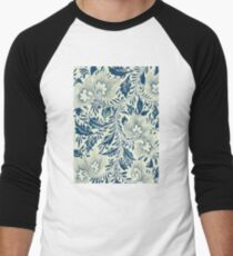Abstract Vintage Floral Pattern In Blue And Creamy White With Spring Branches Leaves And Flowers Men's Baseball ¾ T-Shirt