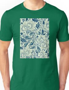 Abstract Vintage Floral Pattern In Blue And Creamy White With Spring Branches Leaves And Flowers Unisex T-Shirt