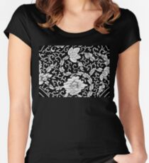 Vintage Black And White Spring Floral Pattern Doodle - Beautiful Cute Asian Flowers Art Women's Fitted Scoop T-Shirt