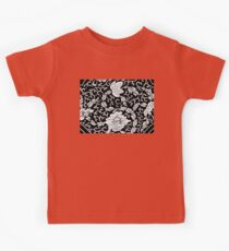 Vintage Black And White Spring Floral Pattern Doodle - Beautiful Cute Asian Flowers Art Kids Tee