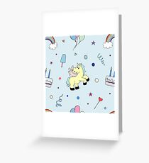 Happy Birthday Party seamless pattern with pony Greeting Card