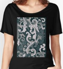 Stylish Dark Sepia Vintage Floral Pattern Asian Traditional Artwork Women's Relaxed Fit T-Shirt