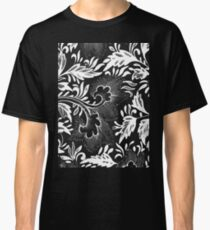 Black And White Retro Oriental Flower Art Doodle - Vintage Asian Ornamental Pattern Classic T-Shirt