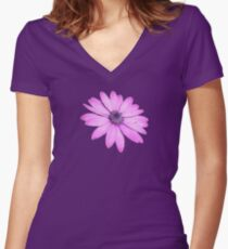 Single Pink African Daisy Against Green Foliage Isolated Women's Fitted V-Neck T-Shirt