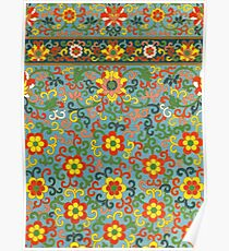Cool Happy 60s Hippie Woodstock Rock And Roll Colorful Floral Pattern   Poster