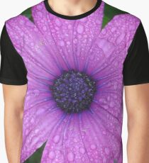 Purple African Daisy with Raindrops Graphic T-Shirt