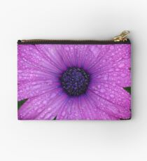Purple African Daisy with Raindrops Studio Pouch