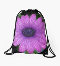 Purple African Daisy with Raindrops Drawstring Bag